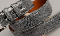 Dark Grey Lizard Belt with Matching Stitch and Edge.
