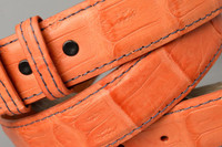Orange Matte Caiman belt with Navy Stitch