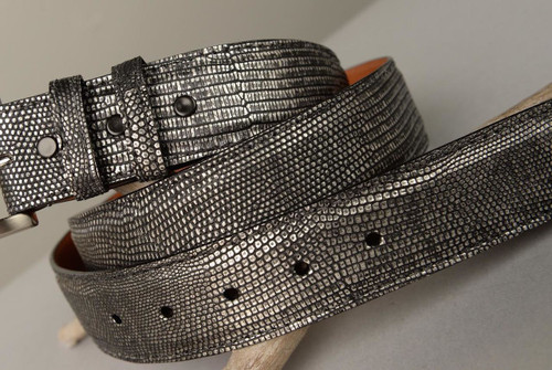 Lizard Belt - Matte Pewter