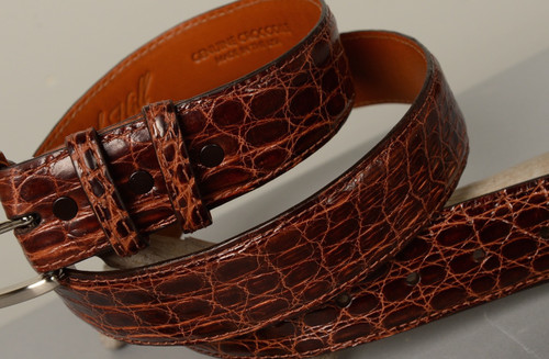Glazed Crocodile Flank belt - Dark Cognac