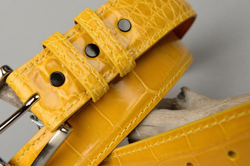 Glazed Sunburst Yellow American Alligator Belt with Matching Edge and Stitch.