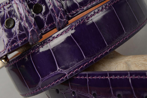 Glazed Purple Blue American Alligator Belt with Matching Edge and Stitch.