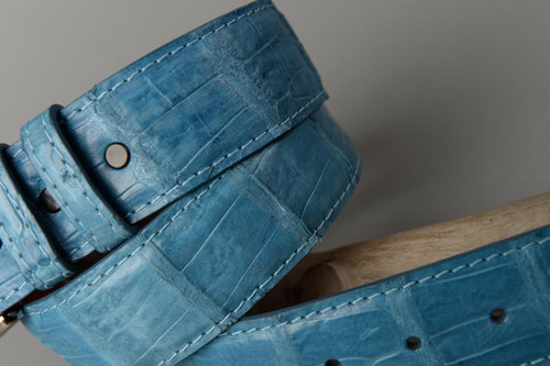 Caiman Crocodile Belt - Blue Jean