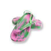 Aussie Soles Starfish Kids Thongs - Pink & Green