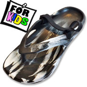 Aussie Soles Starfish Kids Thongs - Black and White
