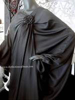 Elegant Black Rose Wrap Abaya