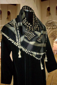 Middle Eastern  Black and Cream Shemagh Scarf