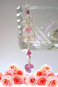 Rose Swarovski Pink Dangle Hijab Pin