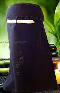 Khaleeji Black Niqab with Black Stones
