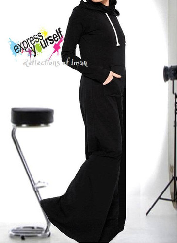 Everyday Basic Black Hooded Abaya