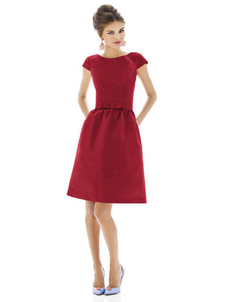 Alfred Sung Style D568  Fabric: Dupioni Cocktail length dupioni bateau neck dress w/ cap sleeves and matching picot edge bow belt at natural waist. Full shirred skirt has pockets at side seams. Also available full length as style D569.