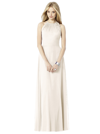 After Six Bridesmaids Style 6704  Fabric: Lux Chiffon Full length lux chiffon dress with modified gathered halter neckline. Bow detail at side neck. Slight circle skirt. Sizes available: 00-30W, and 00-30W extra length.