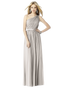 """After Six Bridesmaids Style 6706  Fabric: Lux Chiffon Full length one shoulder lux chiffon dress with matching 1.25"""" matte satin belt at natural waist. Shirred skirt with center front slit. Sizes available: 00-30W, and 00-30W extra length."""