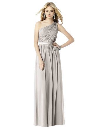 "After Six Bridesmaids Style 6706  Fabric: Lux Chiffon Full length one shoulder lux chiffon dress with matching 1.25"" matte satin belt at natural waist. Shirred skirt with center front slit. Sizes available: 00-30W, and 00-30W extra length."