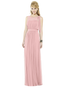 "After Six Bridesmaids Style 6714 Full length sleeveless lux chiffon dress w/ sheer top over strapless bodice. Bow detail at shoulder. 1.5"" self belt at natural waist. Slightly shirred skirt. Sizes available: 00-30W, and 00-30W extra length. After Six 6714"