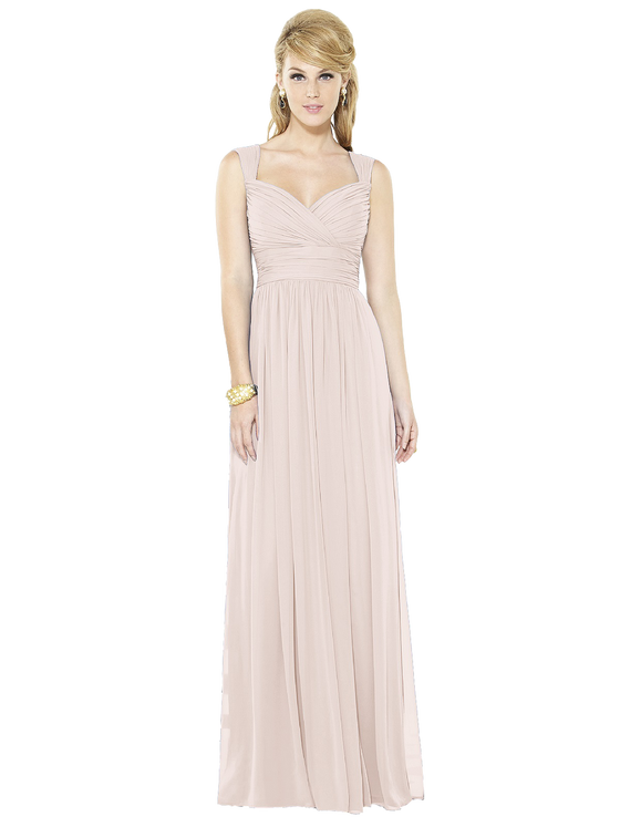 After Six Bridesmaids Style 6712 Full length lux chiffon dress with sweetheart neckline and pleated straps bodice and inset midriff. Shirred skirt with side front slit. Sizes available: 00-30W, and 00-30W extra length. After Six 6712