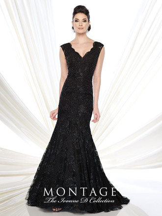 Ivonne D 215D08 Sleeveless lace and mesh trumpet gown with scalloped lace V-neckline, sheer lace back, sweep train. Matching shawl included.