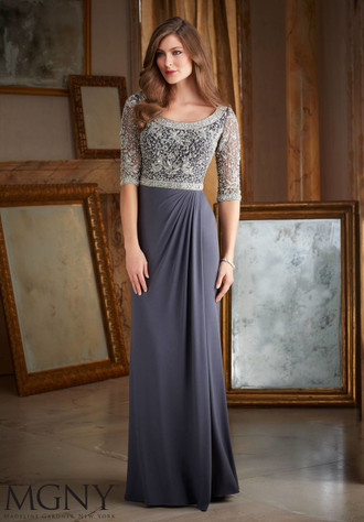BACK TO COLLECTION Evening Gown 71401 INTRICATE BEADING ON JERSEY  Colors available: Charcoal, Emerald, Navy