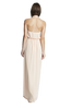 Nouvelle Amsale ERICA Criss-cross ruffle halter chiffon bridesmaid dress shown in Nude.  Style N320