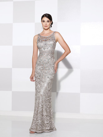 Sleeveless ribbon on tulle sheath with illusion curved bateau neckline and illusion back, hand-beaded high waistline, slightly flared skirt, wedding guests and formal events. Matching shawl included.