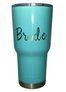 30oz. Tiffany Blue 'Bride' tumblers are stainless steel, double wall vacuum insulated. Keeps your drinks ice cold longer - works great for hot beverages. The crystal clear lid lets you know exactly how much drink you have. Easy to clean.