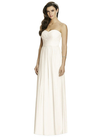 Full length strapless lux chiffon dress w/ sweetheart neckline. Draped bodice w/ crossover detail down center front. Shirring at front and back of skirt.
