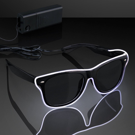LED sunglasses - Party Favors - Can be used on any Occasional such as Occasional Parties, Weddings, Clubs, Halloween ,Birthdays, Festivals and Events. Can be used on both Indoor & Outdoor Night Shows & Activities. Best Use for certain age group like Kids (more than 8 years old), Adults, Men & Ladies. Has battery case controller switch button. (Not Included battery) When you press the button, you would find the the light has three modes: constant light, slow flashing light and continuous quick flashing light Material: Plastic; Power: 1.5V 2 x AA batteries (not included)