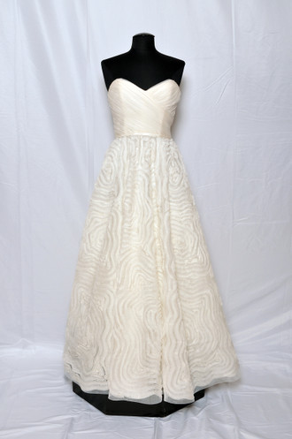 Amsale Charleston Silk organza strapless bridal gown with ruched bodice and hand-pleated organza floral embroidered skirt