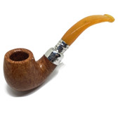 Peterson - 221 Sterling Silver Spigot (Natural Finish) Amber Stem (9mm Filter)