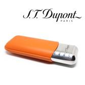 St. Dupont Cigar Case - Metal & Leather - for 2 Cigars - Orange