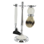 Artamis - Chrome & White Mach 3 Razor & Badger Brush Set