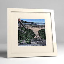whale beach steps framed print