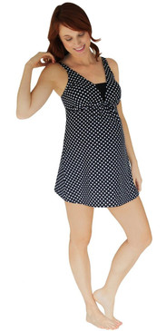 V Insert Maternity Dresskini Top - Black With White Polka Dots
