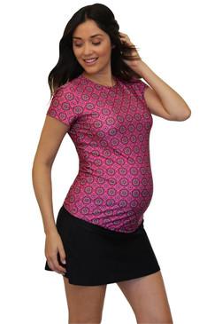 Maternity Rash Guard Swim Shirt - Pink Kaleidoscope