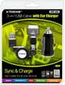 XTREME 88212 3-in-1 USB Cable with Car Charger - 88212