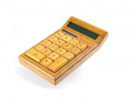 IMPECCA CB1200 12-Digits Bamboo Custom Carved Desktop Calculator - CB1200