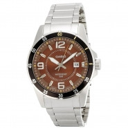 CASIO 3-Hand Analog 50-Meter Water Resistant Watch with Date and Stainless Steel Case and Band - MTP1291D-5AV