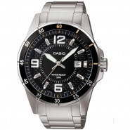 CASIO 3-Hand Analog 50-Meter Water Resistant Watch with Date and Stainless Steel Case and Band - MTP1291D-1A2