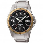 CASIO 3-Hand Analog 50-Meter Water Resistant Watch with Date and Stainless Steel Case and Band - MTP1291D-1A3