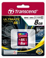 TRANSCEND SD High Capacity (SDHC) 8GB Class 10 Ultimate 566x Great for FullHD Recording - TS8GSDHC10U1