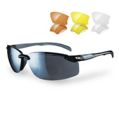 Sunwise Pacific - Metallic black frame with grey features. Smoke mirror, orange, yellow and clear polycarbonate lenses.