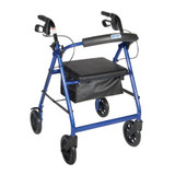 "ALUMINUM ROLLATOR BLACK FOLD UP AND REMOVABLE BACK SUPPORT 8"" WHEELS DRIVE MEDIC"