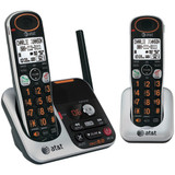 AT AND T DUAL HANDSET CORDLESS PHONE WITH ANSWERING MACHINE