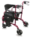 MEDLINE COMBINATION ROLLATOR TRANSPORT CHAIR RED