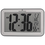 ATOMIC SELF SETTING AND ADJUSTING PANORAMIC CLOCK SILVER
