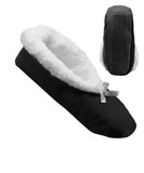 EXTRA WIDE WOMENS FLEECE SLIPPERS SLIP RESISTANT BOTTOM