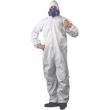 SAFETY COVERALL WITH ELASTIC HOOD AND WRISTS