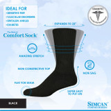 SIMCAN COMFORT DIABETIC SOCKS BLACK
