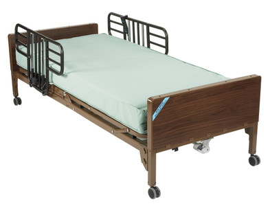 """FULL ELECTRIC HOSPITAL BED WITH 80"""" THERAPEUTIC MATTRESS HALF RAILS"""