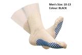 DIABETIC SLIPPER SOCKS WITH GRIP SOLES MENS BLACK SIZE 10 TO 13